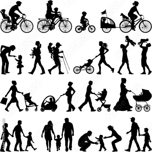 Family vector silhouettes collection