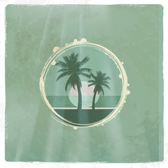 Retro tropical emblem