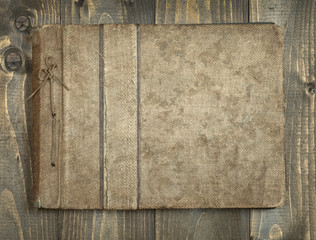 vintage notebook on wood