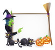 Halloween witch background sign