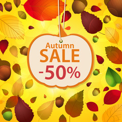 autumn sale label and leaf background