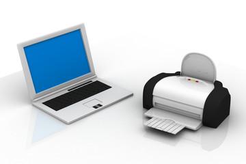 laptop and printer