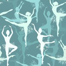 Bez szwu tła z płatka śniegu tancerzy baletowych