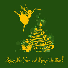 Christmas and New Year card with fairy