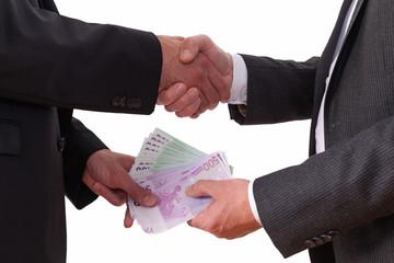 Handschlag, Geldaustausch, Geschäft