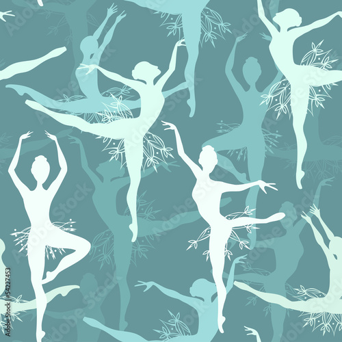 Cotton fabric Seamless background of snowflake ballet dancers