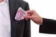 Geldbündel, Hand, Bestechung, korrupt
