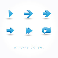 set of icons pointer arrows 3d vector illustration isolated on w
