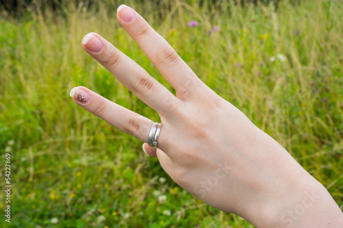 Woman hand making sign