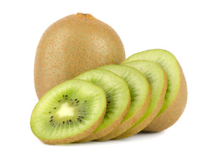 Whole kiwi fruit and his segments isolated on white background