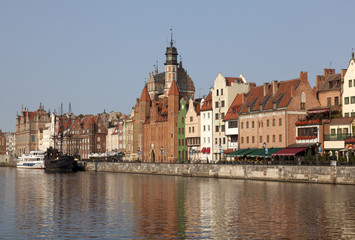 Old town waterfront over Motlawa river in Gdansk, Poland