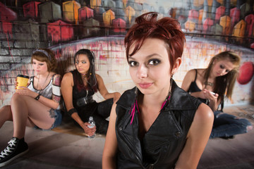 Group Young Women in Alley
