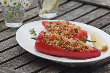 Bulgur salad in the red paprika