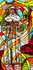 Stained glass showing the nun