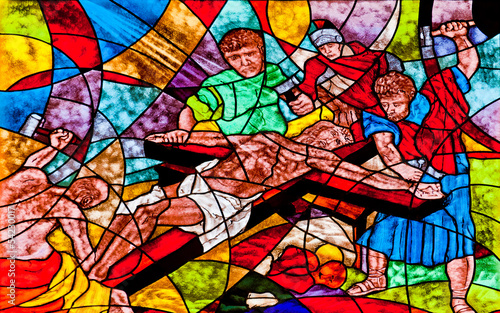 Naklejka Stained glass showing Jesus crucifixion