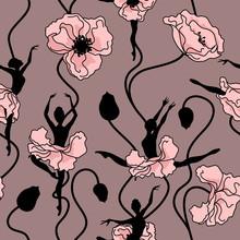 Bez szwu deseń z kwiatów stylizowane taniec