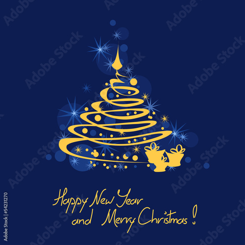 Christmas and New Year card with tree