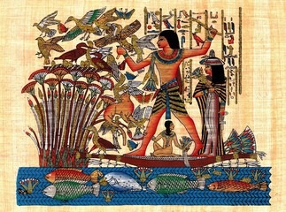 Ancient egyptian papyrus symbolizing family