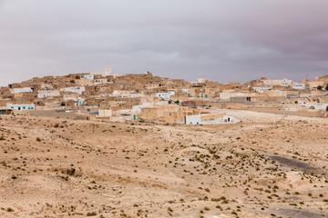 houses in oasis in Sahara desert, Tunisia