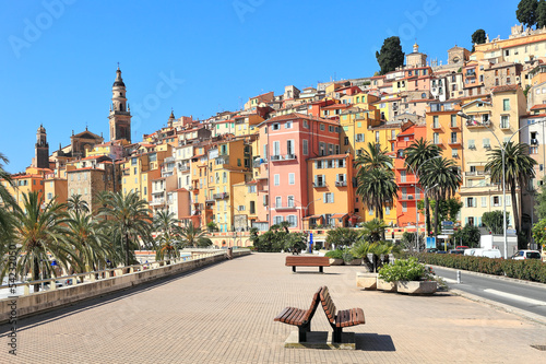 Promenade and town of Menton in France.