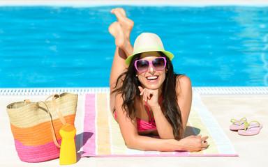 Fun summer vacation at pool