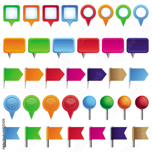 Vector collection with pins and marks
