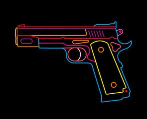 Handgun - neon sign
