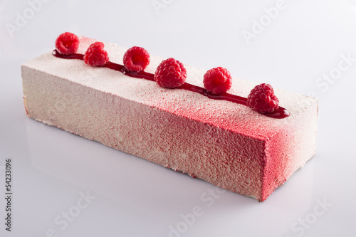 Red fruits mousse on white background