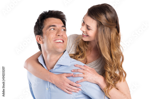 Young Man Piggybacking Woman