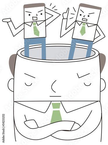 頭の中で会話をするビジネスマン
