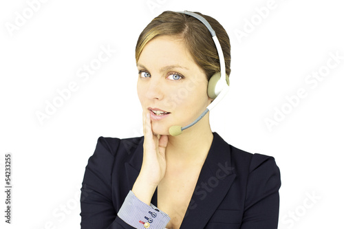 Smiling business woman talking with headset