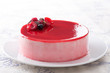 Red fruits mousse on a dish