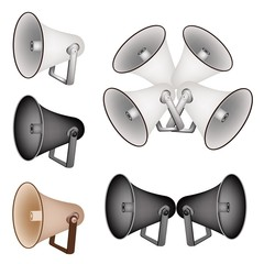 A Set of Megaphone on White Background