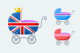 English Baby Carriages - small vector set