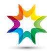 colorful star shape, business icon, company logo
