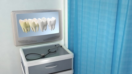 tooth step be white medical screen