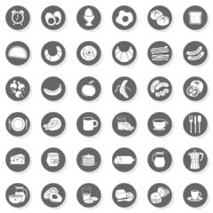 śniadanie jedzenie picie zestaw 36 szarych płaskich ikon
