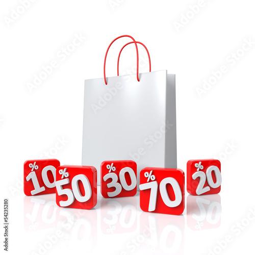 Einkaufstasche mit Prozenten - 3D Illustration