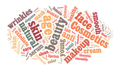 Cosmetics and makeup word cloud