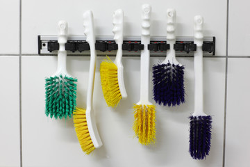 six colorful, industrial, nylon,used  brushes