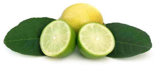 Sliced Lemon with green leaves