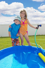 Kids Summertime fun in the back yard