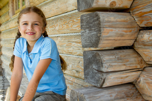 Mountain hike - young girl in mountain hut