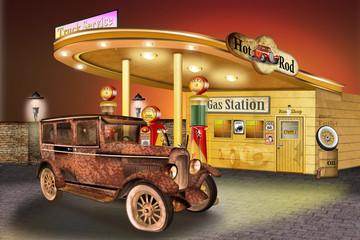 verrosteter Oldtimer an der Tankstelle