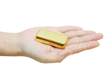isolated gold bar on a hand