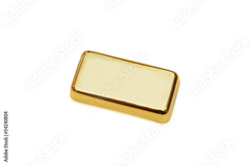 isolated gold bar in white background