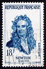 Postage stamp France 1957 Sir Isaac Newton, Physicist and Mathem