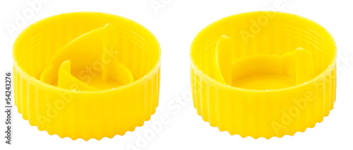 Isolated Yellow Platic Cap Both Sides