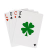 Word LUCK Playing Cards with Lucky Clover Leaf Clipping Path