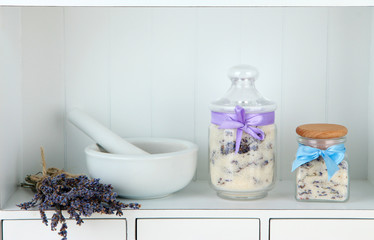 Still life with jar of lavender sugar, mortar and fresh